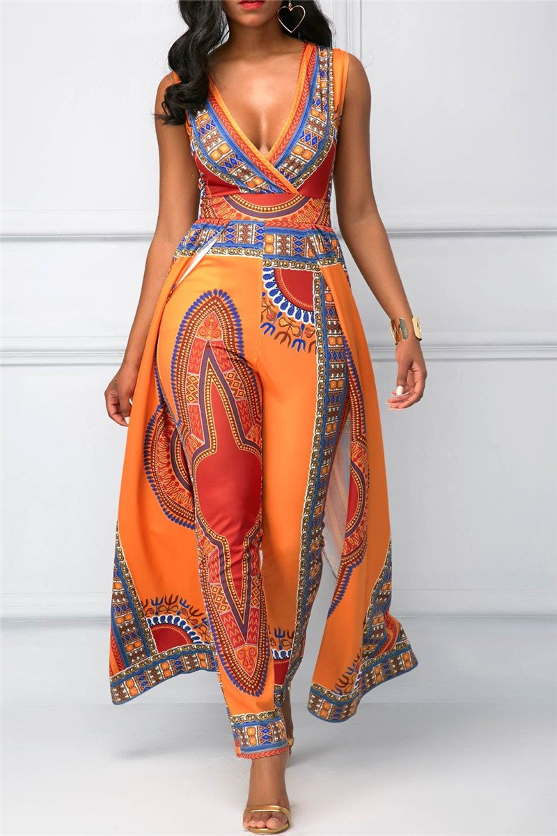 Deep V Printed Jumpsuit - outyfit