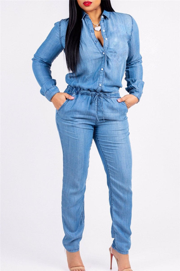 Denim Bandage Plus Size Jumpsuit - outyfit
