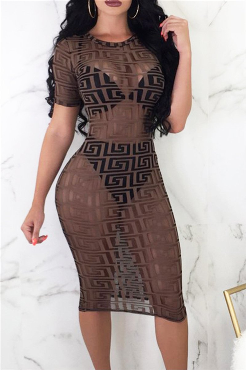 Printed Net Yarn Midi Dress
