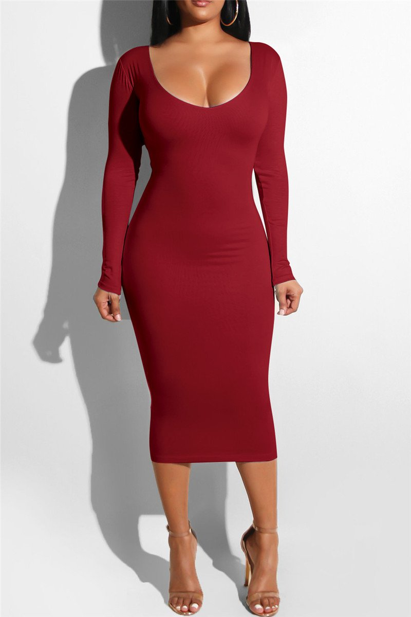 Hollowed Ruched Midi Dress - outyfit