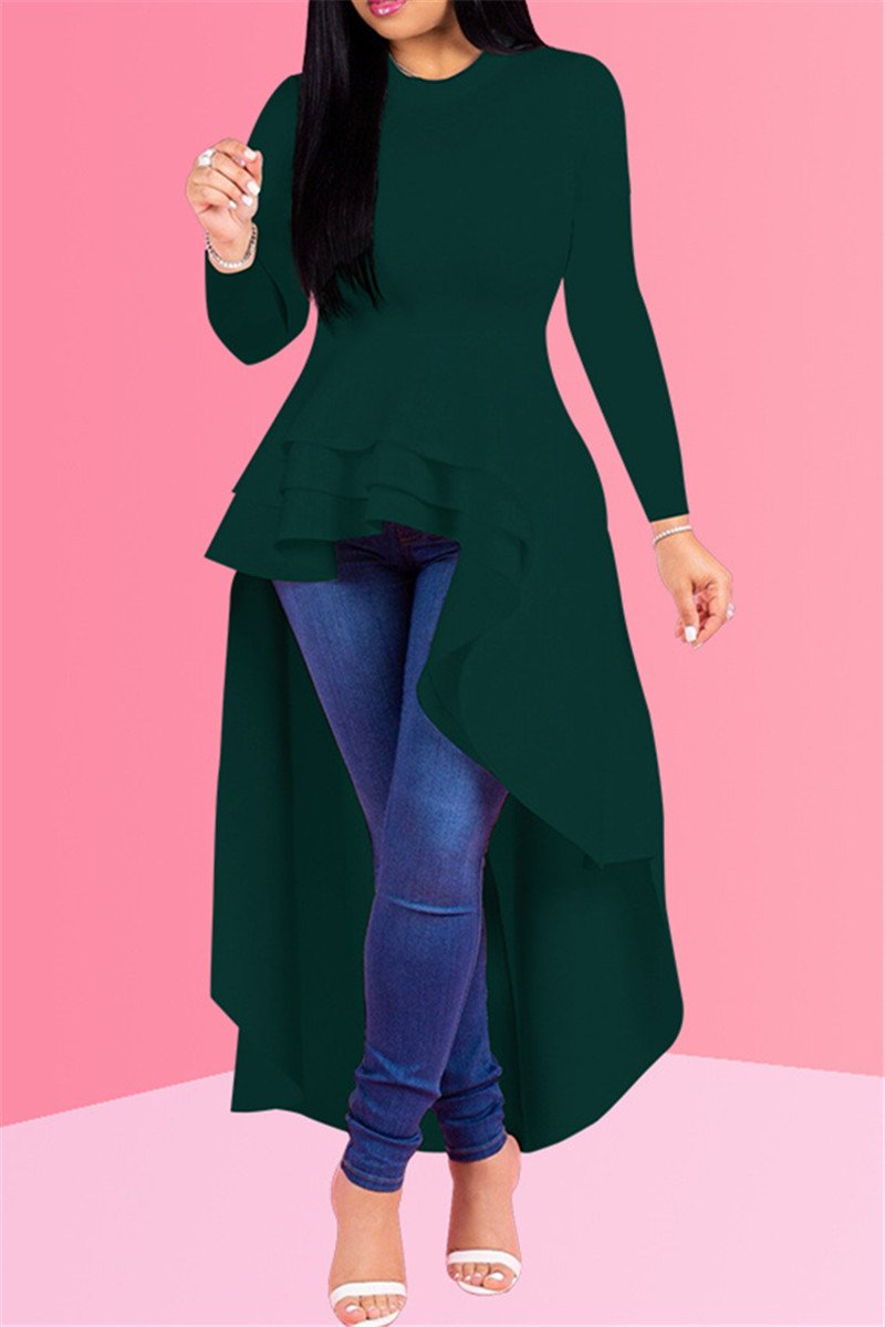 Long Sleeve Irregular Hemline Dress