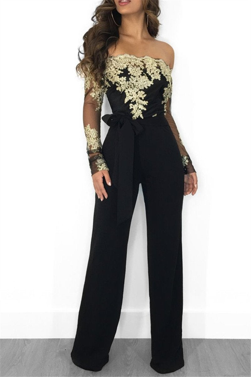 Embroidery Lace Wide Leg Jumpsuit - outyfit