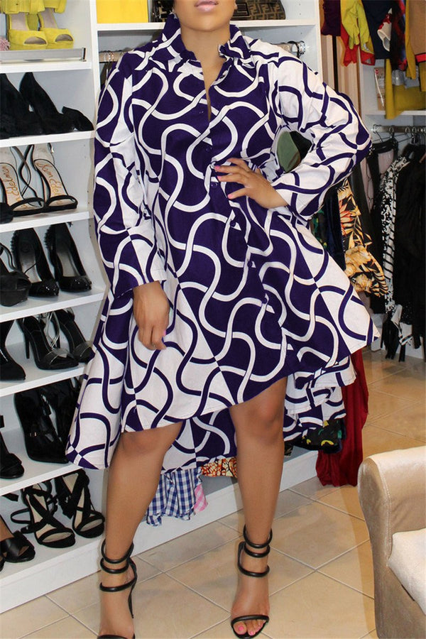 Irregular Hemline Printed Mini Shirt Dress