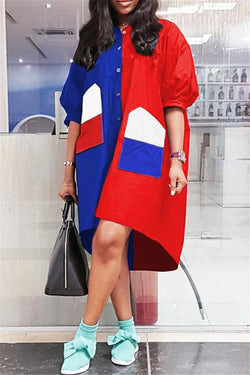 Plus Size Color Splicing Wind Coat