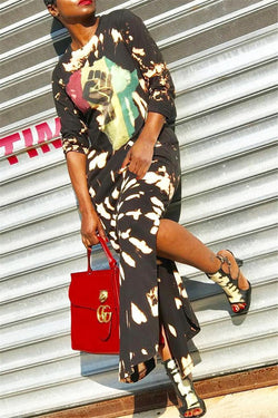 Printed Split Maxi Dress