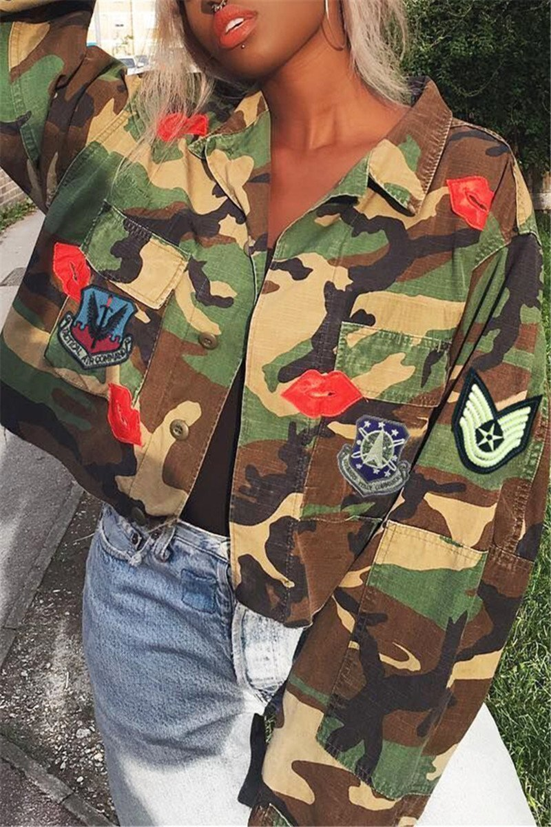 Lips Sticked Camo Printed Jacket