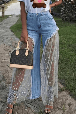 Stars Net Yarn Splicing Denim Pants