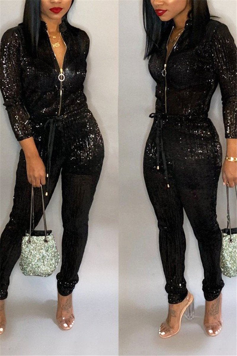 Hot Stamping Smocked Jumpsuit - outyfit
