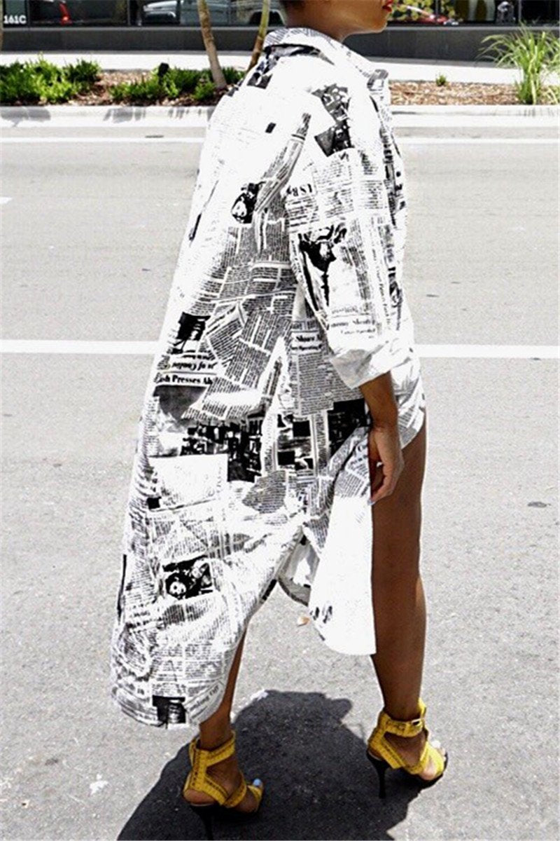 Newspaper Printed Shirt Dress
