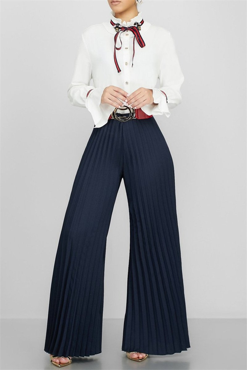 Casual Pleated Wide Leg Pants - outyfit