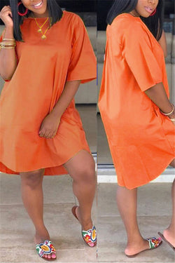 Plus Size Solid Color Dress With Pockets