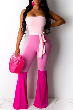 Tube Color Splicing Jumpsuit