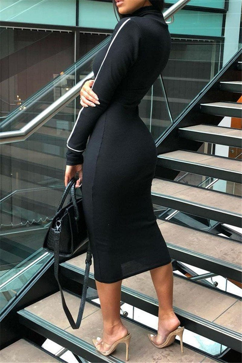 Stretchy Long Sleeve Midi Dress