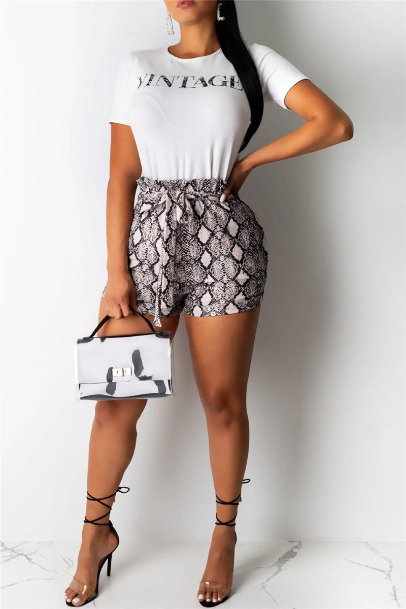 Printed Top & Snakeskin Shorts Sets
