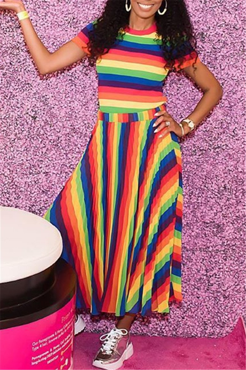 Rainbow Striped Top& Skirt Sets