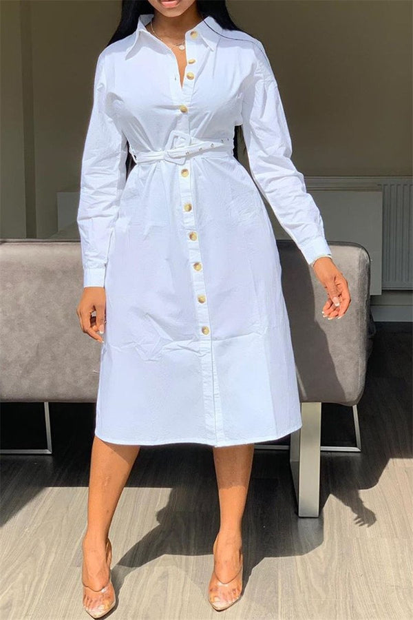 Casual Solid Color Shirt Dress - outyfit