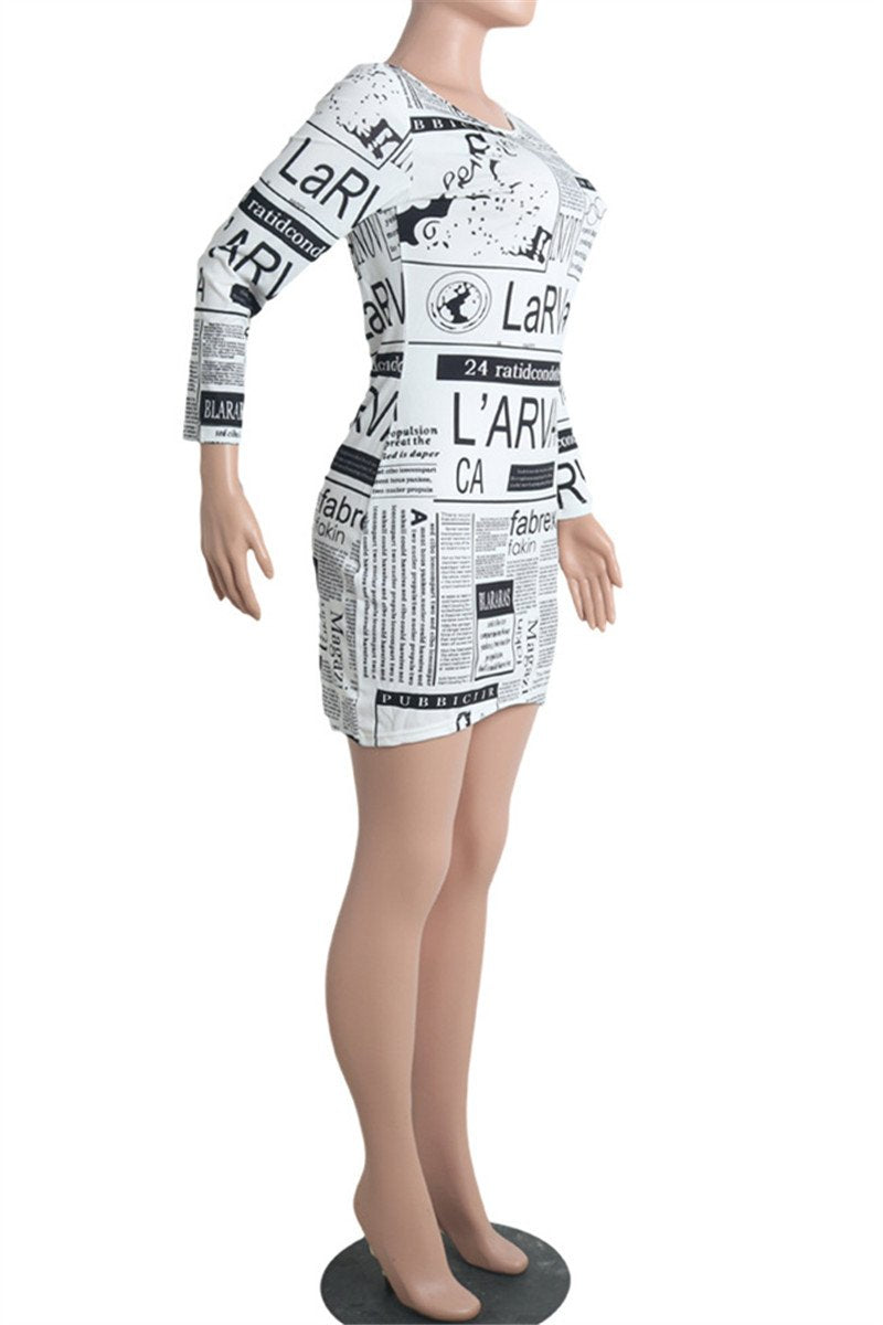Casual Newspaper Printed Dress - outyfit