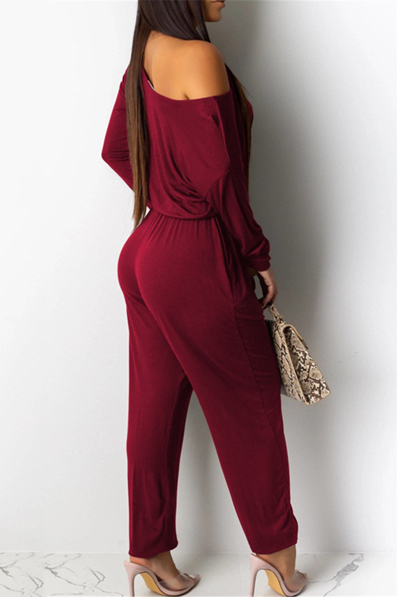 Casual Solid Color Drawstring Jumpsuit - outyfit