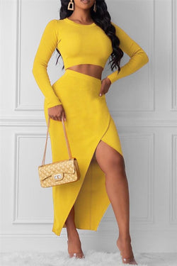 Solid Color Top& Split Skirt Sets