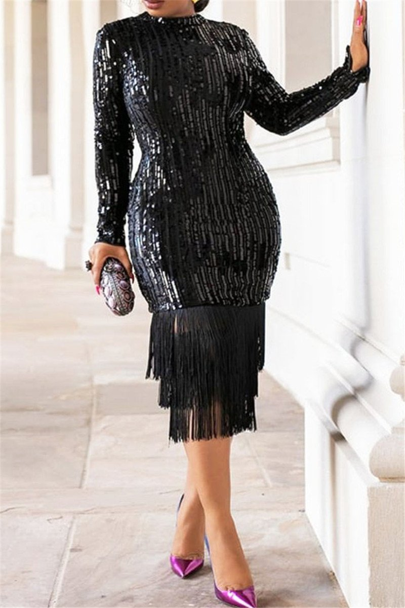 Sequin Tassel Splicing Party Dress