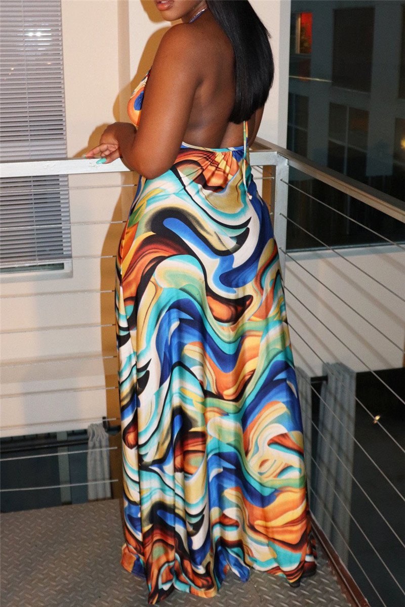 Casual Printed Halted Maxi Dress