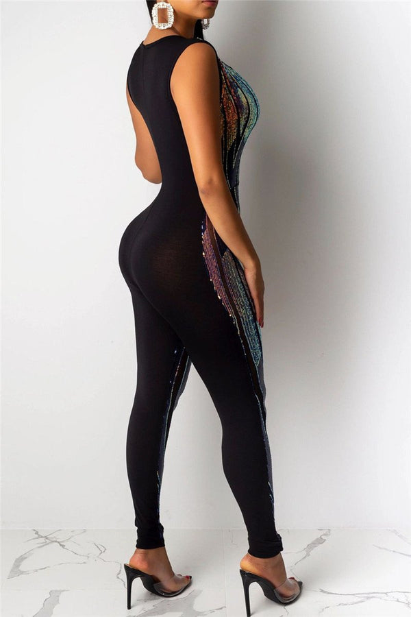 Net Yarn Sequins Splicing Jumpsuit