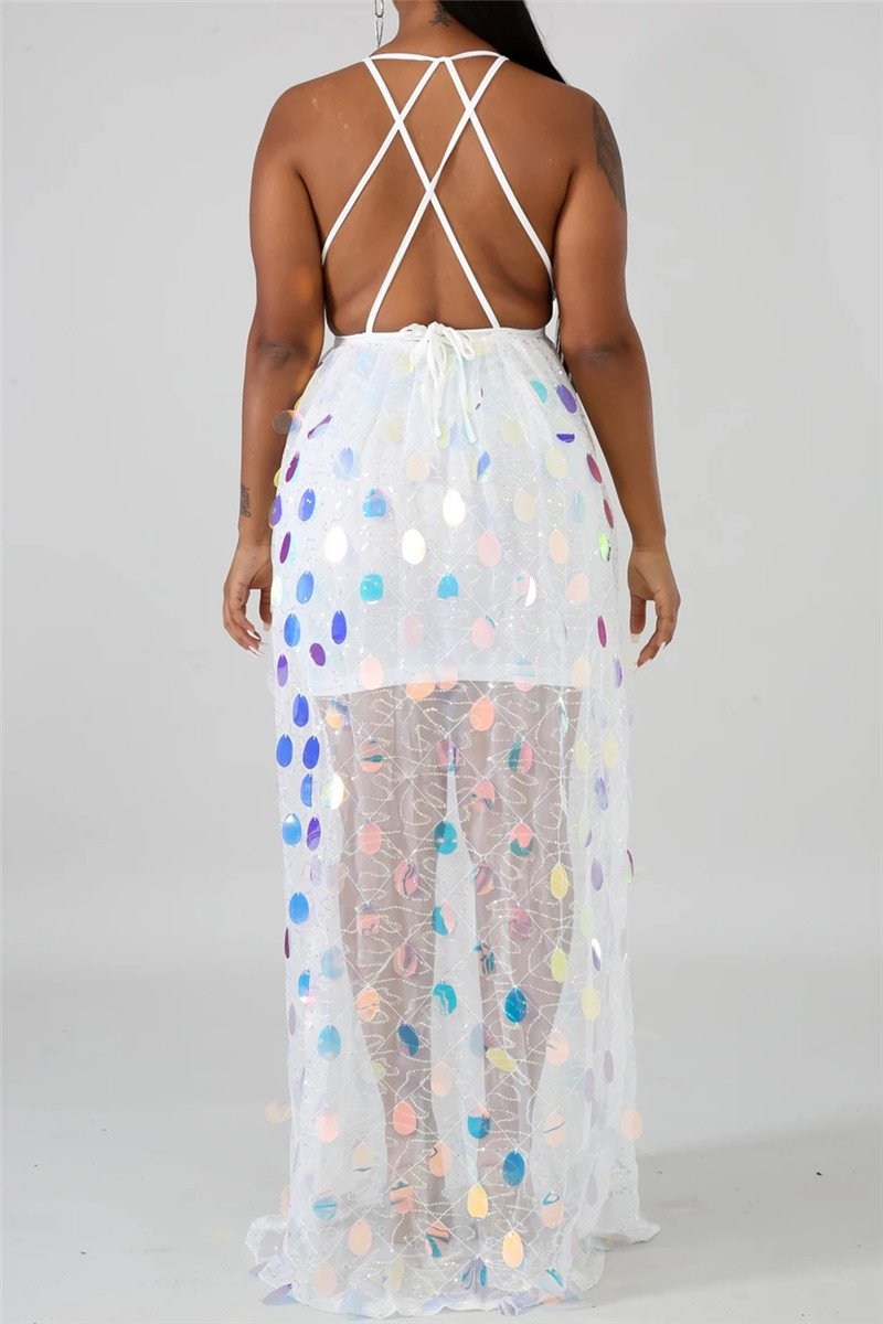 Sequins Splicing Bandage Maxi Dress