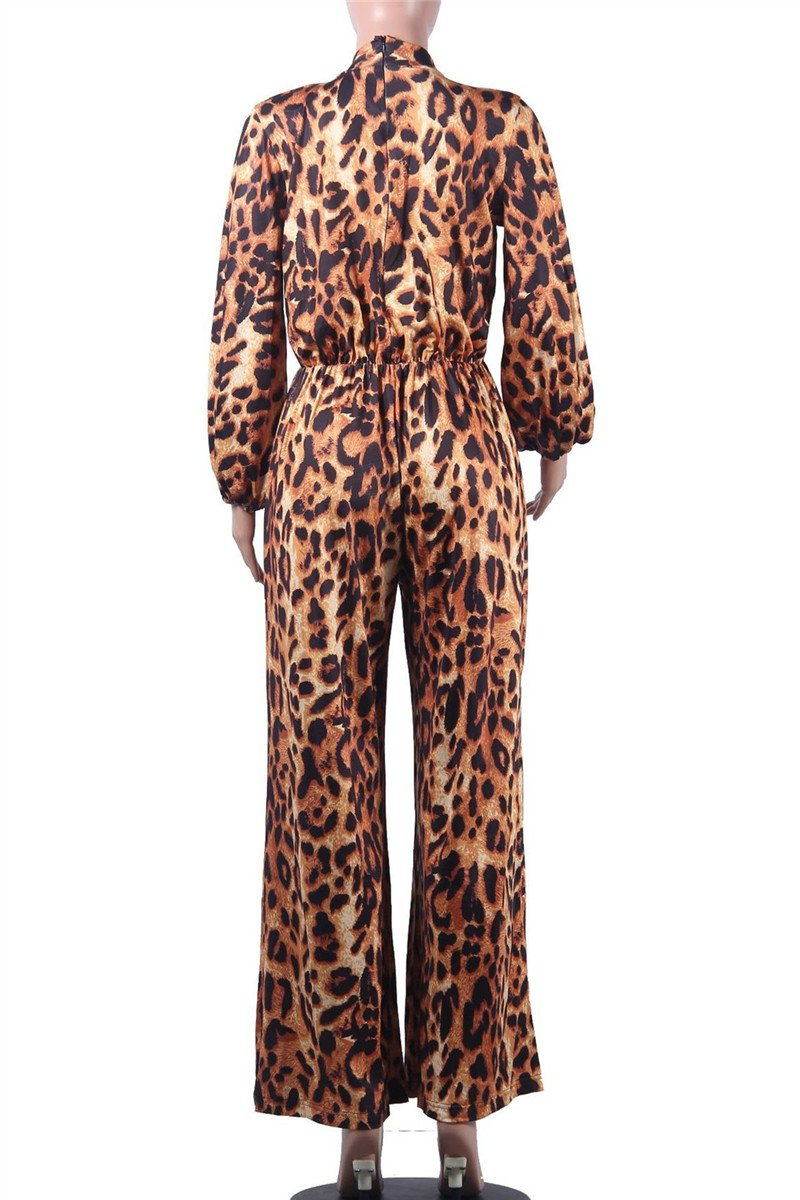 Casual Leopard Printed Ruched Jumpsuit
