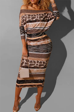 Casual Sloping Shouder Printed Dress