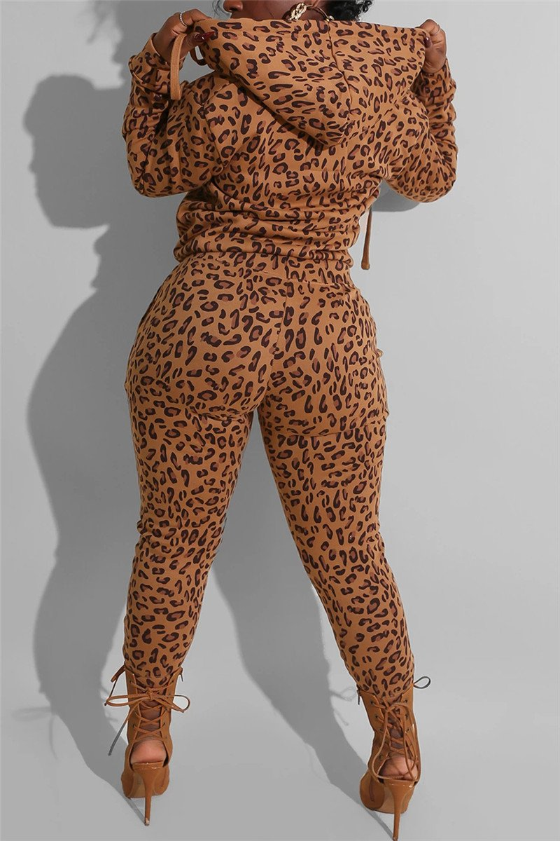Leopard Printed Hooded Sets