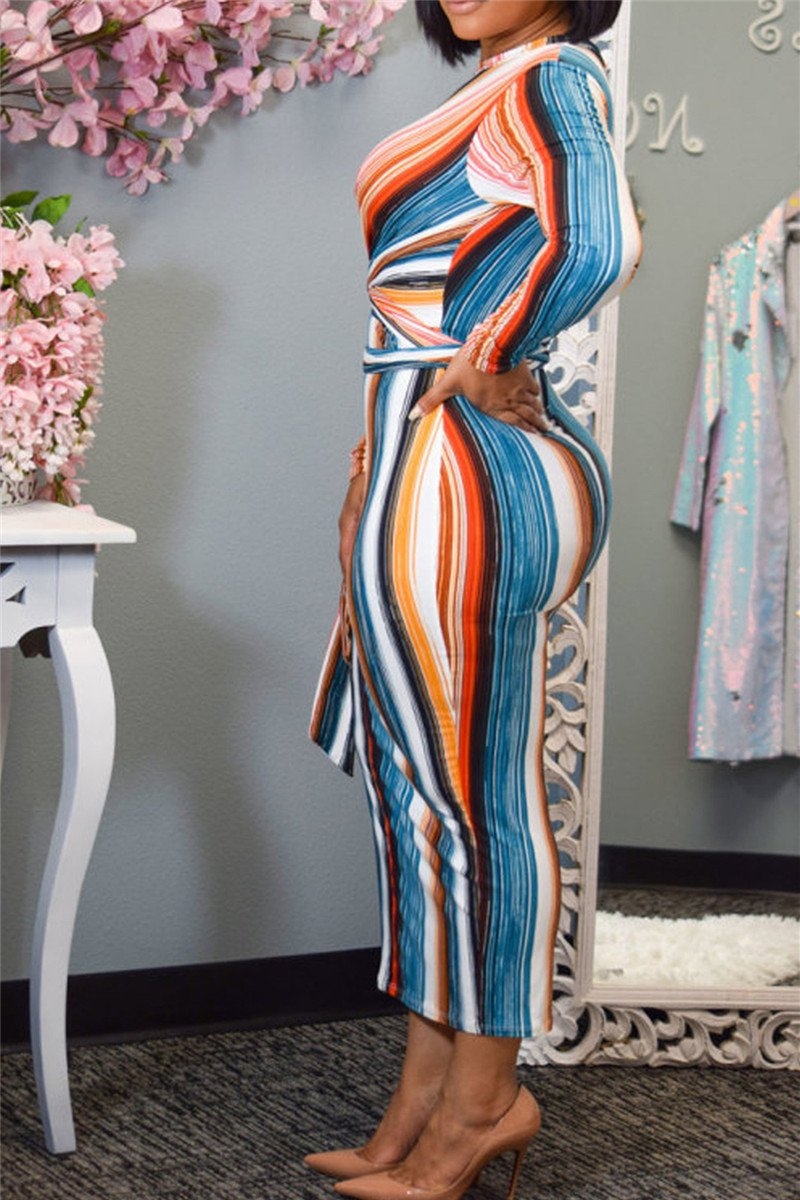 Stripe Printed Bandage Dress