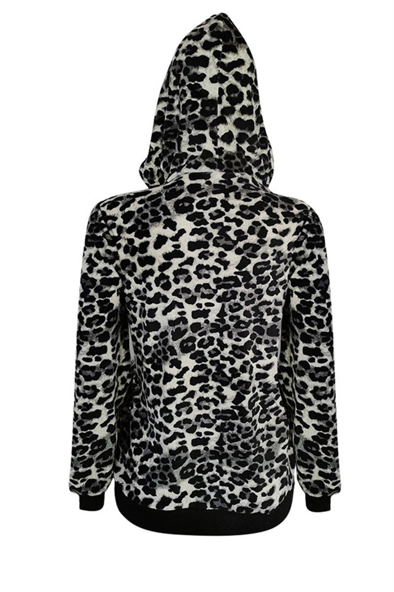 Leopard Printed Velvet Hooded Jacket