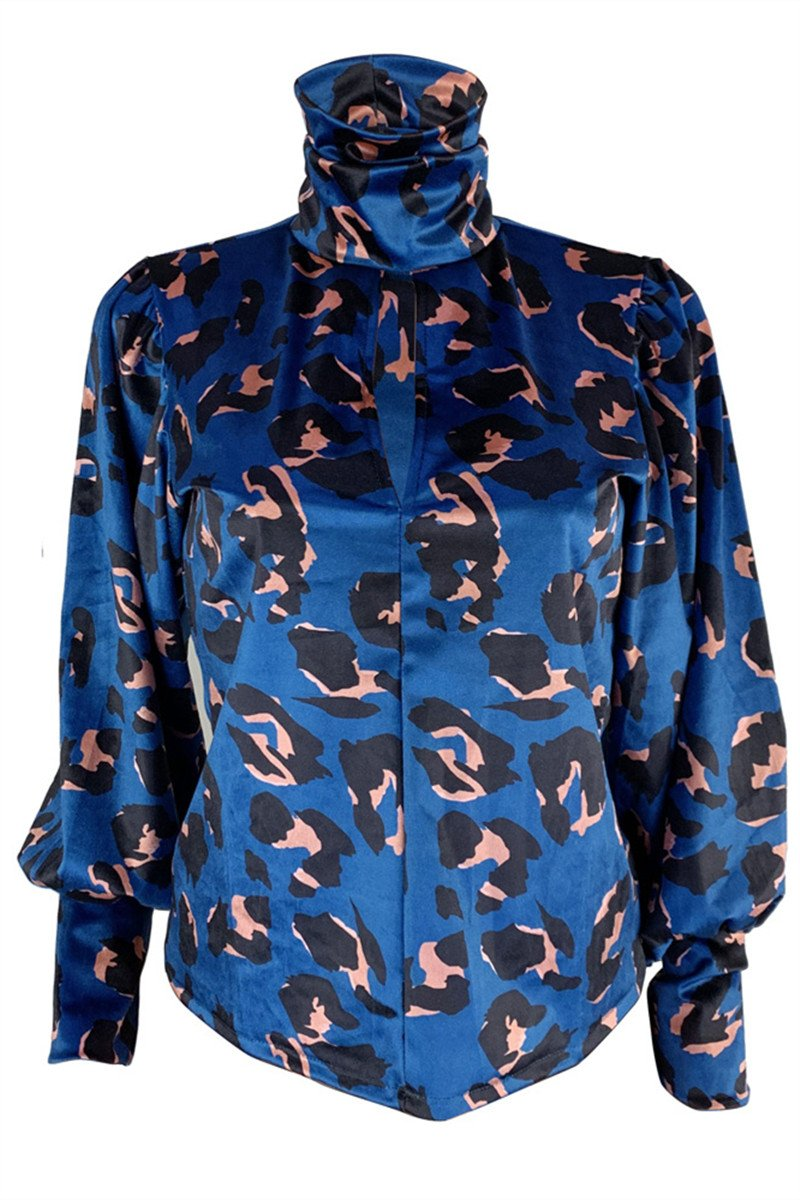 High Collar Printed Velvet Top