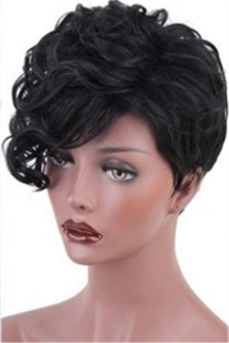 Short Curly Black Hair Wigs