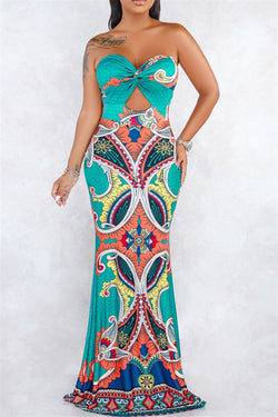 Printed Tube Maxi Dress
