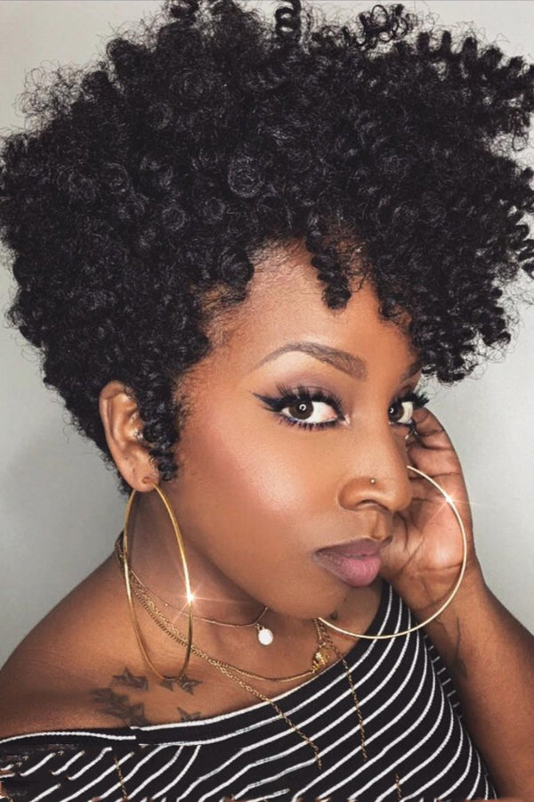 Short Small Curly Black Wigs