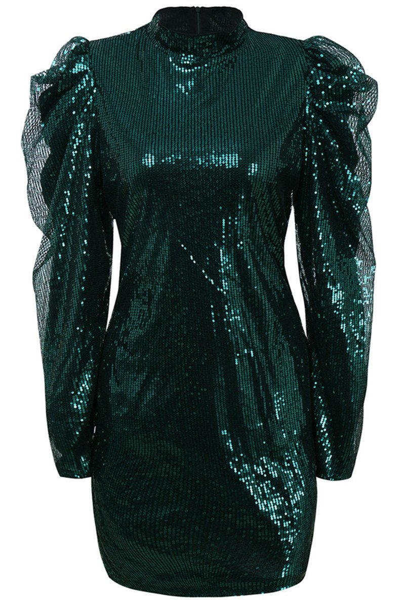 Double Layer Sleeve Sequin Dress