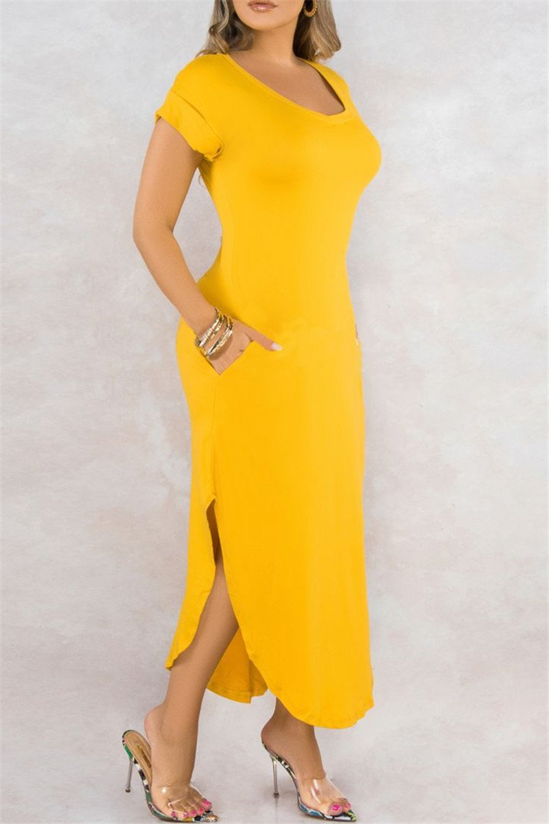 Solid Color Split Dress With Pockets