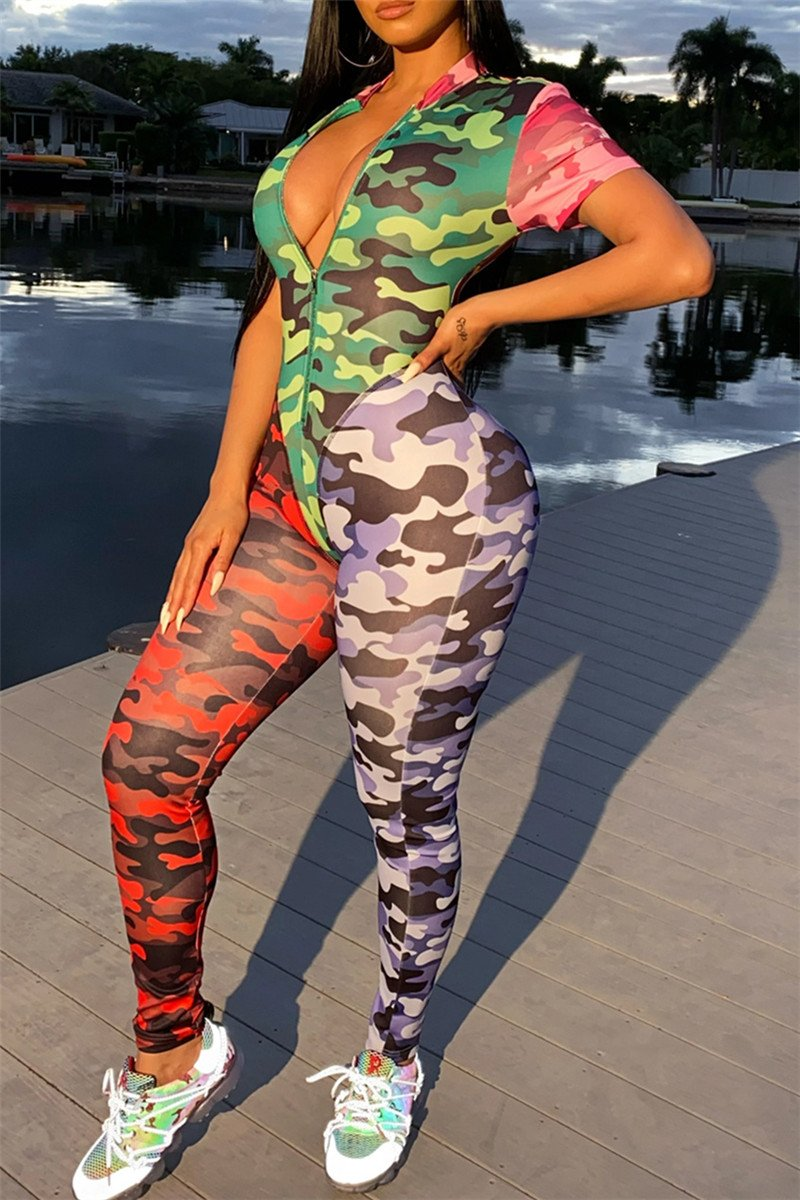 Color Splicing Camo Printed Jumpsuit