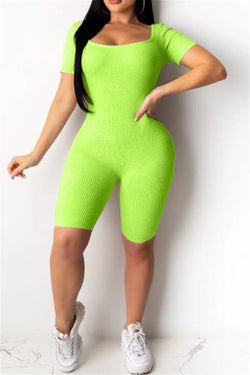 Solid Color Back Bandage Romper
