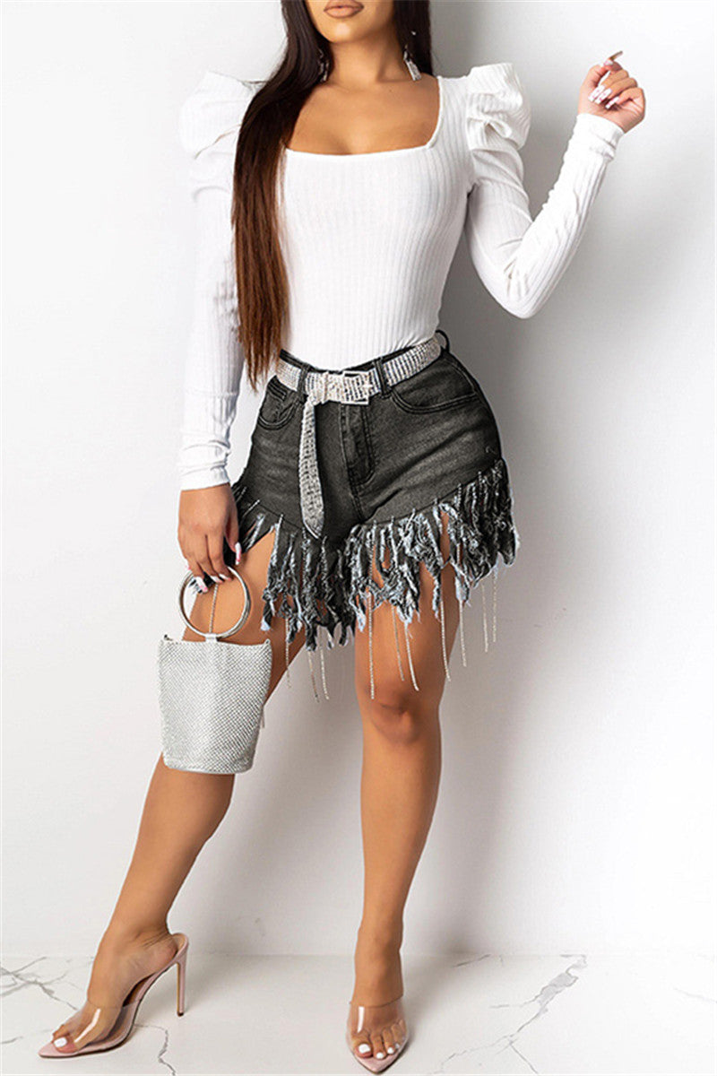 Rhinestone Tassel Splicing Denim Shorts