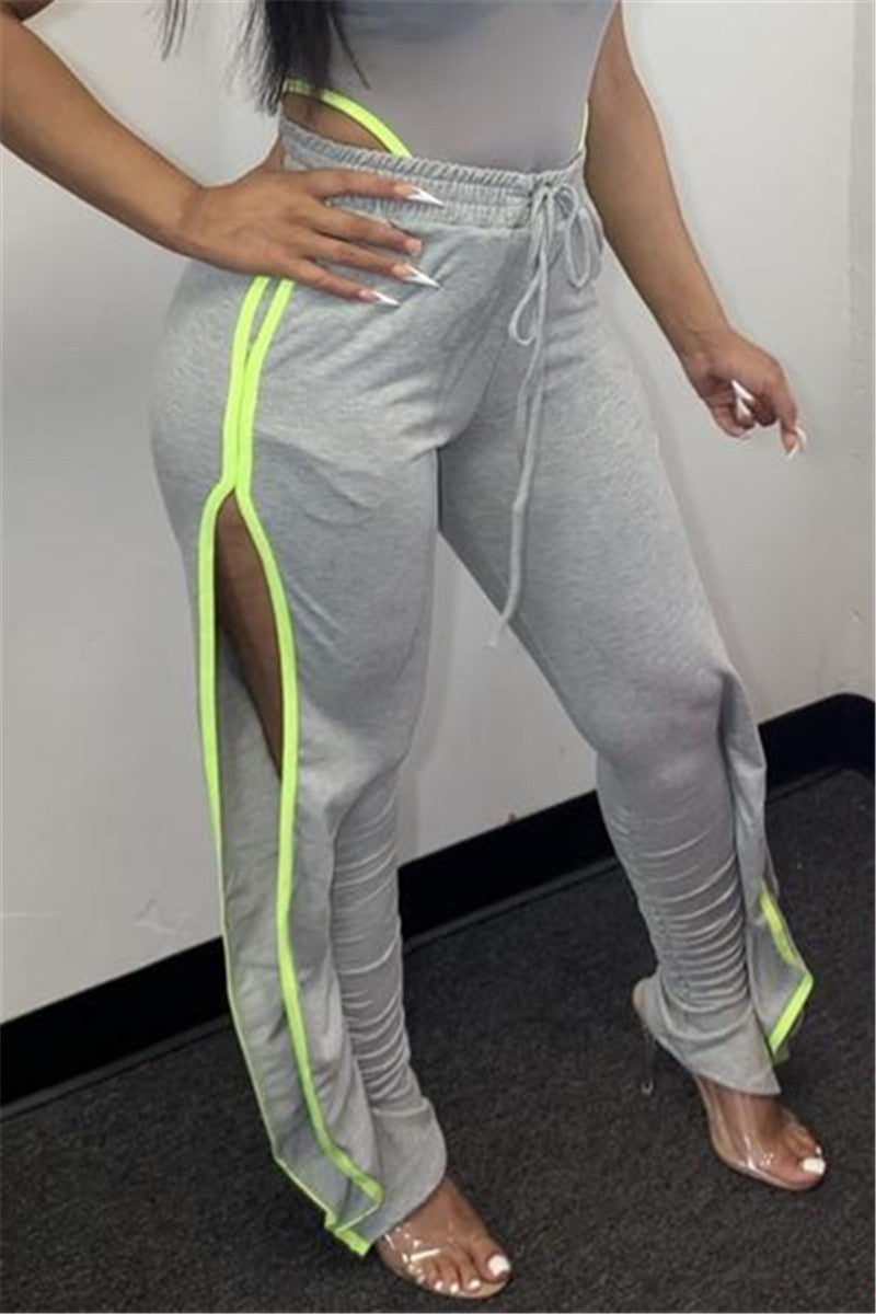 Casual Drawstring Ruched Split Pants