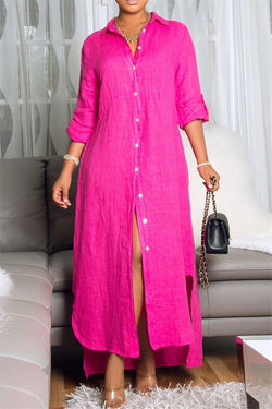 Solid Color Split Maxi Shirt Dress