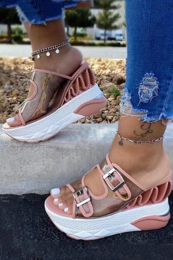PU Buckle Wedge Heel Sandals