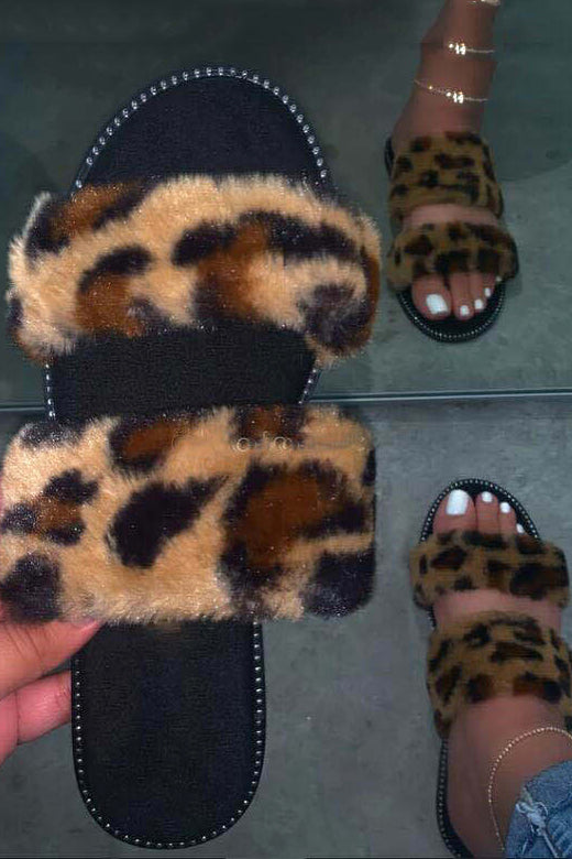 Leopard Fur Open Toe Slippers