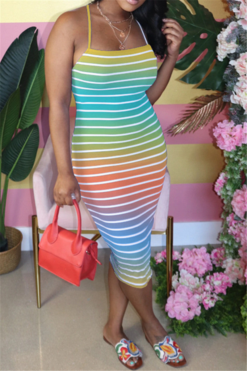 Stripe Back Bandage Midi Dress