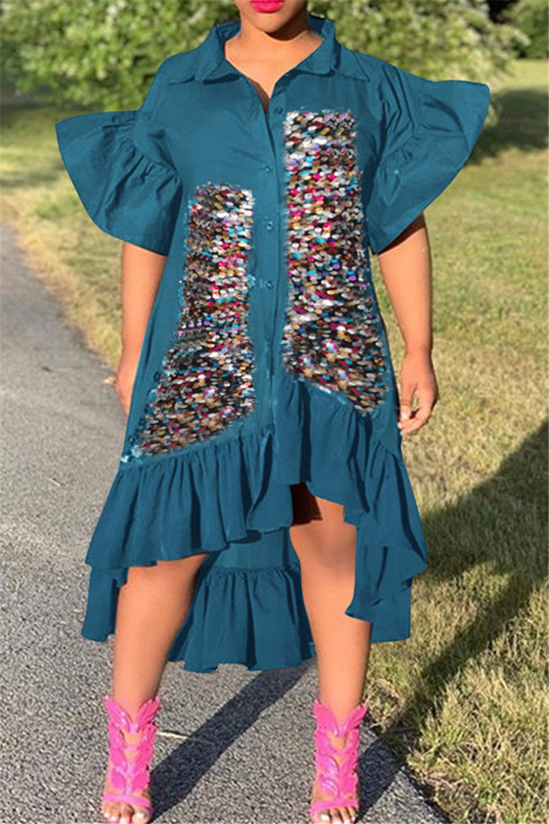 Sequin Splicing Flounce Shirt Dress