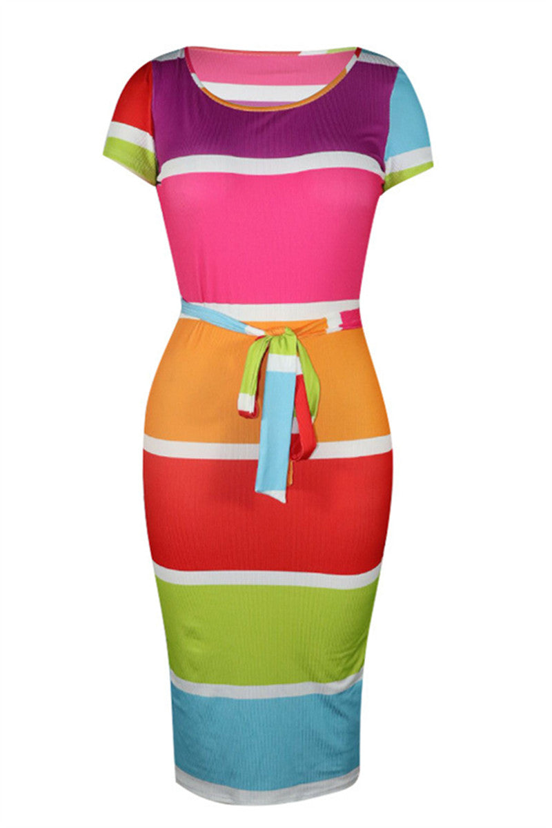 Stripe Hollow Out Dress With Belt