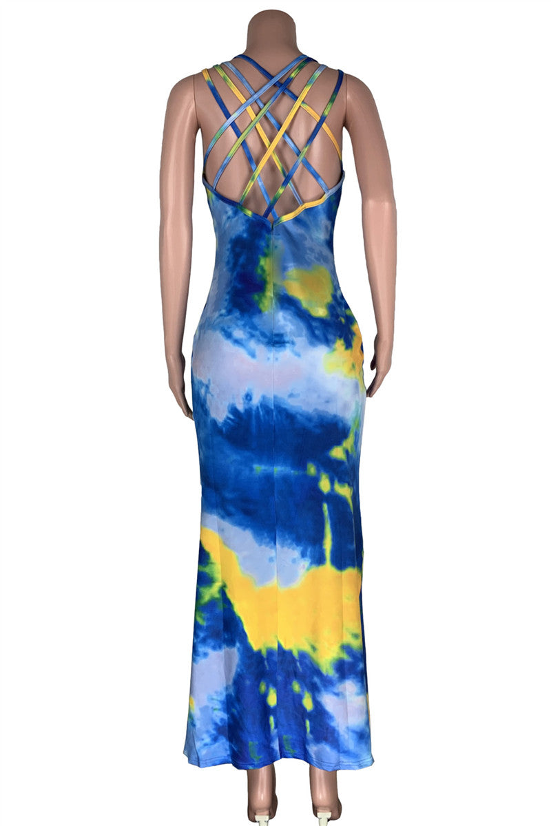 Tie Dye Hollow Out Fishtail Dress