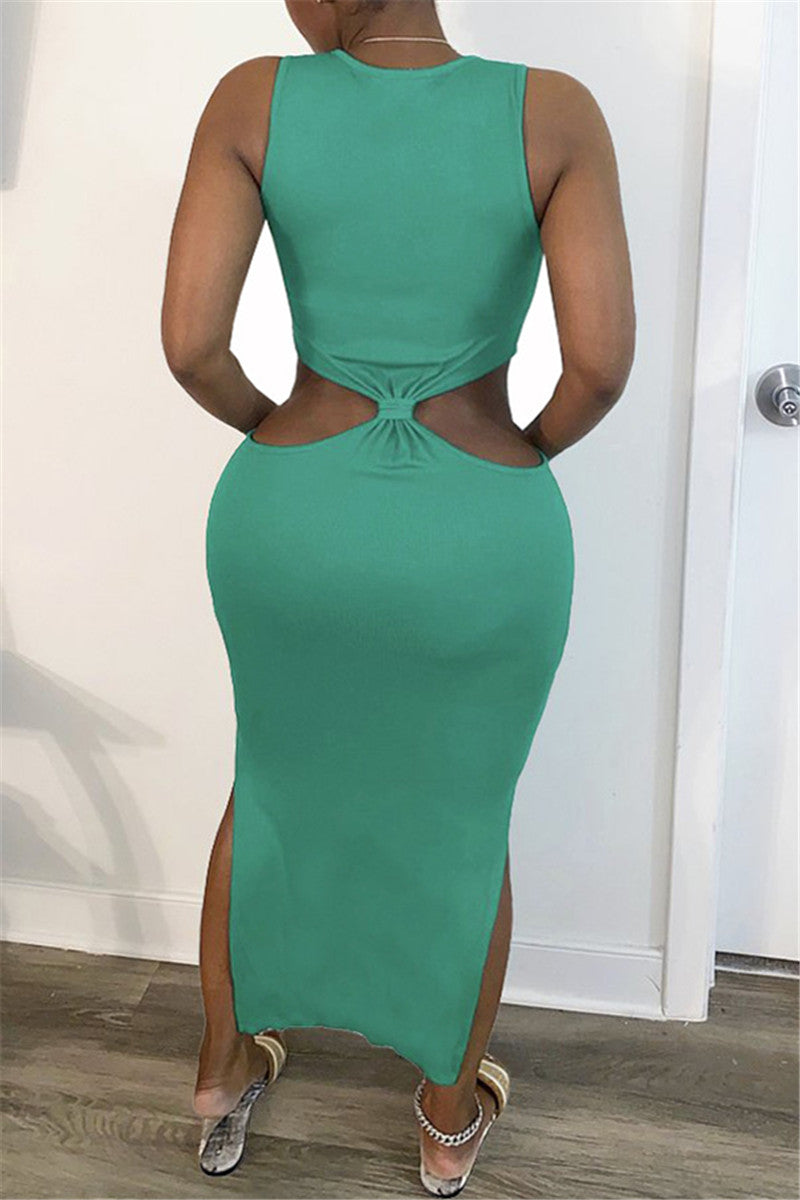 Solid Color Hollow Out Split Dress